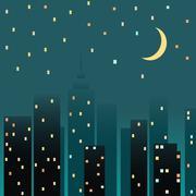 Night cityscape. Vector illustration - stock illustration