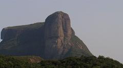 Aerial zoom out view of Pedra de Gavea Mountain , Rio de Janeiro - stock footage