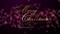 Abstract blurred bokeh background and Merry Christmas and Happy New Year Stock Footage