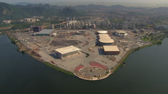 Aerial overhead view of building an Olympic Village in Rio De Janeiro Stock Footage
