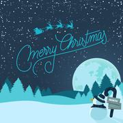 Snowy christmas background Stock Illustration