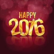 Happy 2016 background with golden letters - stock illustration