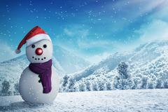Snowman in the snow forrest - stock photo