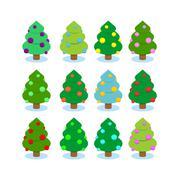 Set Christmas tree. Multicolored ornaments on tree. Festive Christmas balls.  - stock illustration