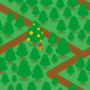 Stock Illustration of Woods and trails seamless pattern. Large decorated Christmas tree balls. New