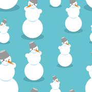 Snowman seamless pattern. Background of snow figure. Texture of Christmas win - stock illustration