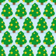 Christmas Tree seamless pattern. Holiday wood ornament. Trees decorated with  - stock illustration