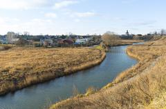 Suzdal, Russia -06.11.2015.  Landscape with  river Kamenka. Golden Ring of  T - stock photo