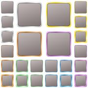 Grey blank square metal button set - stock illustration