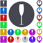 Color champagne icon set Stock Illustration