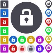 Color unlock icon set - stock illustration