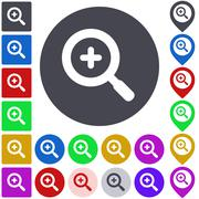Color zoom in icon set - stock illustration