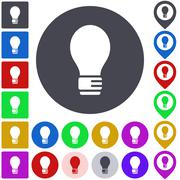 Color light bulb icon set - stock illustration
