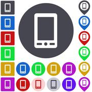 Color cellphone icon set - stock illustration