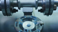 Industrial gate valves closeup in the factory Stock Footage