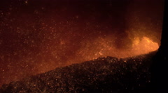 Release of iron from the blast furnace with sparks close up - stock footage