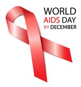 Stock Illustration of World Aids Day background with red ribbon of aids awareness