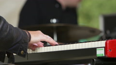playing electronic piano: live rock concert - stock footage
