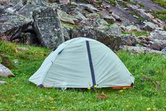 Lightweight hiking dome tent - stock photo