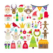 Big Flat Style Vector Collection of Merry Christmas Objects Stock Illustration