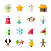 Flat Winter Christmas and Happy New Year Objects Set isolated over White - stock illustration
