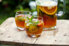 Pimms and lemonade Stock Photos