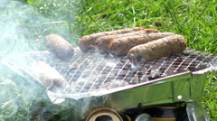 Stock Video Footage of roasting meat on a home barbeque