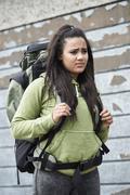 Homeless Teenage Girl On Street With Rucksack Stock Photos