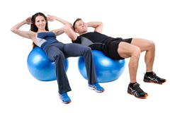 Abdominal Fitball Exercises - stock photo