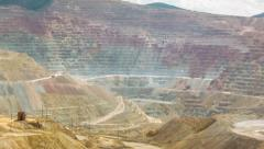 Wide angle time-lapse of open pit copper mine Stock Footage