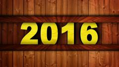 2016 Year Text in Wood Door, Open / Close, Loop, 4k Stock Footage