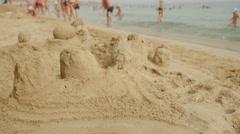 Sand castle, Sandy beach - stock footage