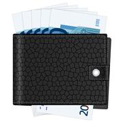 wallet with twenty euro banknotes - stock illustration
