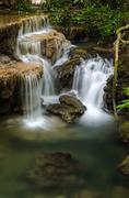 Huai Mae Khamin Waterfall in Kanchanaburi, Thailand - stock photo