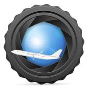 Camera shutter with airplane Stock Illustration
