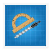 Blueprint and ruler instruments Stock Illustration