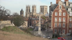 York minister cathedral against sky, historical city cityscapes Stock Footage
