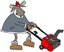 Bull moose using a snowblower - stock illustration