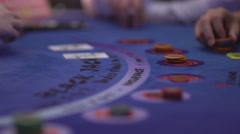 Dealer dispensing cards at Black Jack table Stock Footage