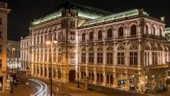 Time Lapse of the Opera House in Vienna / Austria by Night Stock Footage