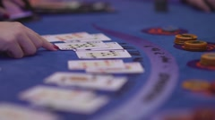 Gambling Black Jack in a casino - close up of cards at a game Stock Footage