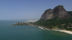 Flying above the ocean to reveal Barra da Tijuca, Rio de Janeiro Stock Footage