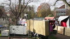 Christmas Fair: preparation and set up Stock Footage