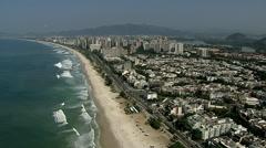 Flying along Barra da Tijuca Beach, Rio de Janeiro Stock Footage