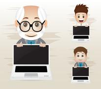 Business character with laptop Stock Illustration