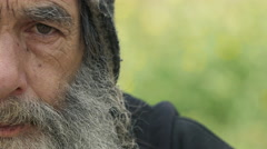 real homeless portrait with a lot of copyspace  - stock footage