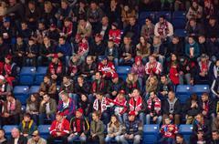 Fans on tribune - stock photo