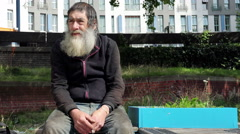 hungry homeless: dirt, loneliness, illness, discomfort, marginalization - stock footage
