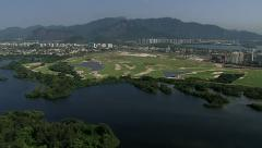Aerial view of building an Olympic Golf Course in Rio De Janeiro - stock footage