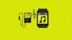Headphones and smartwatch design Stock Footage
